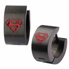 Official DC Comics Superman Logo Black and Red Huggie Hoop Earrings - Stainless