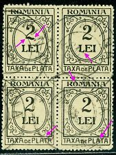 1924 TAXA DE PLATA,Postage Due,TAX,Romania,2 LEI,block of 4,VFU variety errors