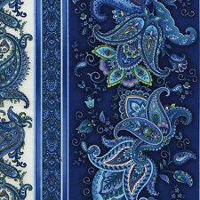 Belize, Beautiful Indigo Paisley 11-inch Stripe, Timeless Treasures (By 1/2 yd)