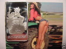 "Rare ""Farm Girl"" 1oz Silver PLATED Art Bar- ""Hangin' Around The Job Site"" - Nice"
