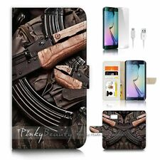 Samsung Galaxy ( S7 Edge ) Flip Wallet Case Cover P1754 AK47 Gun