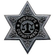 Silver reflective 6 point Sheriff's star patch.  Buy It Now!