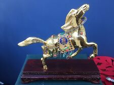 Sterling 925 Silver Cloisonne & Jewelled Horse Figure on Stand & Cased