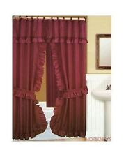 Double Swag Shower Curtain With Liner Set Burgundy - 70x72