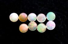 TWO 4mm Round Ethiopan  Opal Natural White Cabochon Cab Gem Stone Gemstone