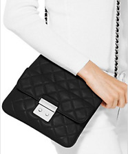 ❤️NWT MICHAEL KORS Quilted Leather Sloan Medium Swingpack Crossbody BLACK Silver