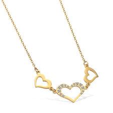 Damen Halskette Anhänger Herz Zirkonia Edelstahl Gold 14K Kette 46cm Geschenk