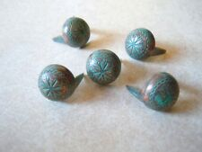 """20 Round Sunburst Spots 19/64"""" Copper And Green/Blue Patina 2 Prong"""