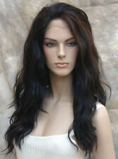 HEAT SAFE Lace Front WAVY LONG WIG Off Black Auburn Mix Futura WBYV 1B-30