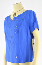 NWT PLAZA SOUTH Women's Linen Blend Sequin Butterfly Blue PERI Blouse Top Sz 14