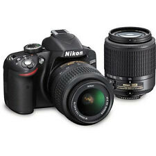 Nikon D3200 24.2 MP Digital SLR Camera - BLACK with 18-55mm and 55-200mm lens