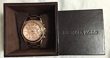 Authentic Michael Kors Chronograph Rose Gold-Tone Watch With Crystals