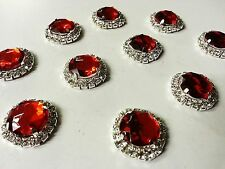 MT72R- 10pc 22mm RED Crystal Diamante Rhinestone Wedding Topper Buckle Button