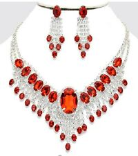 Red Clear Silver Wedding Rhinestone Crystal Pageant Necklace Jewelry Set Earring