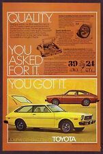 1976 Vintage Toyota Corolla SR-5 Sport Coupe & Liftback Car Photo Print Ad