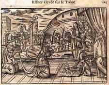 "Leclerc's Bible Figures - Woodcut - ""ESTER ELEVATED TO THE THRONE"" -1614"