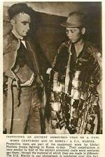1952 Us Marine Inspecting Ancient Armoured Coat Worn In Korea