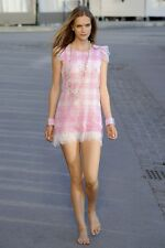 STUNNING CHANEL 11C RUNWAY PINK & WHITE GINGHAM LACE DRESS 40