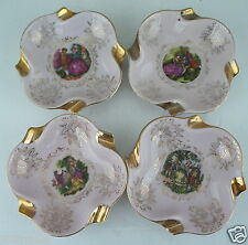 VINTAGE SMALL NUT DISH OR ASHTRAY,GOLD,PINK,FRAGONARD,ROMANTIC SCENE SET OF 4