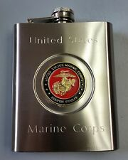 USMC United States Marine Corps Stainless Steel 6oz USMC Emblem Center