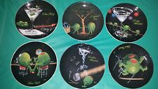 "*Set of 6* Michael Godard Cocktail Party 6"" Appetizers Plates Martini Olive"