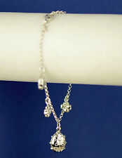 Sterling Silver Ladybug Flower Charms with Charm Bracelet