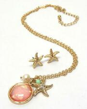Crystal Starfish Abalone Finish Stone Faux Pearl Necklace Earring Set NEW Beach