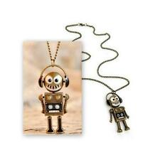 "DJ ROBOT CHARM NECKLACE 3"" Pendant Headphones Bronze Tone Metal 26"" Chain NEW"