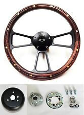 "1969-1994 Chevy Camaro Steering Wheel 14"" Dark Pine Wood on Black Bowtie Cap"