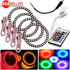 4X RGB 90mm 5050 SMD Headlight Multi-Color LED Halo Ring Light Kit Angel Eye 12V