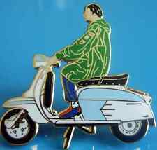 Lambretta Scooter Mod Blue, White, Black And Green Enamel Pin Badge