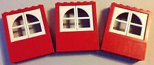 #6236 3x Lego Basic Fenster Rot/Weiß Höhe 6cm wenig bespielter Zustand