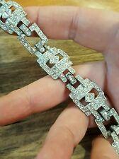 art deco pot metal and rhinestone bracelet vintage bling