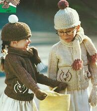 """Childs Knitting Pattern Jacket Hat Mitts Scarf Chunky 22-26""""  186"""