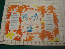 vintage Placemat: WONDERFUL WORLD OF ANIMATAION 1975 Clarion, Pa