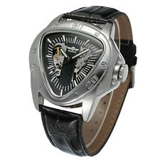 Winner New Triangle Skeleton Automatic Mechanical Leather Men Sport Watch Black