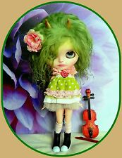 *Blythe doll wig with horn* tibetan lamb fur* lime green colour*