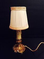 Vintage french brass Bronze boudoir candle lamp With Shade #70 Baroque Rococo