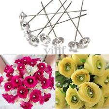 "100pcs Diamante Pins 1.5"" Clear Wedding Buttonholes Bouquet Florist Work Flower"