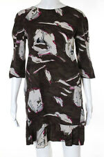Marni Brown Cotton Floral Printed Short Sleeve Dress Size 42 Italian