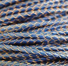 2 metros cordón trenzado cuero 3mm color Azul-Natural.Leather,Leder,Pelle,Cuir
