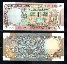 India Old 10 Rupees Peacock Sign R N Malhotra  AUNC Note # L