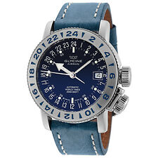 Glycine Men's 3918.18/66 LB8B Airman 18 Purist Automatic Blue Dial Blue Strap