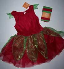 GYMBOREE STRAWBERRY FAIRY NWOT COSTUME 10-12 NWT TIGHTS Halloween Elf Red Green