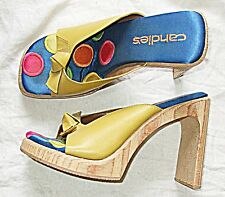 VINTAGE WOODEN PLATFORM HIGH MULES CLOGS PLATFORM SHOES 'CANDIES' 6 CITRON