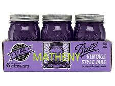 6 Ball Mason Ltd Edition Heritage Purple Canning Jars Pint~16oz w/Lids&Bands NEW