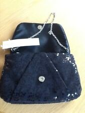 Black sequin Gina Bacconi evening bag, brand new with tag
