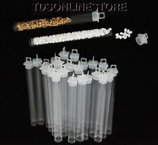 """Package of 25 Round Clear Plastic Storage Tubes 5"""" Tall"""