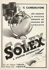 Y0021 Carburatore SOLEX a starter automatico - Pubblicità 1938 - Advertising