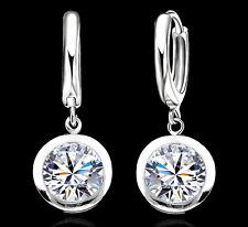 Ohrringe Ohrhänger Silber 925 Zirkonia Schnappverschluss rund klassisch